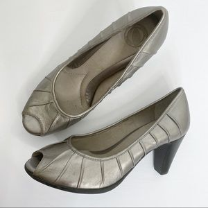 Nurture Nicolet Pewter Leather Peeptoe Heels